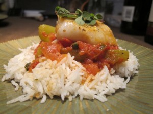 Cod with Braised Celery and Tomato
