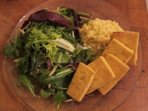 A Balanced Plate: Sesame Tofu, Chive and Spring Greens Salad, and Millet Pilaf