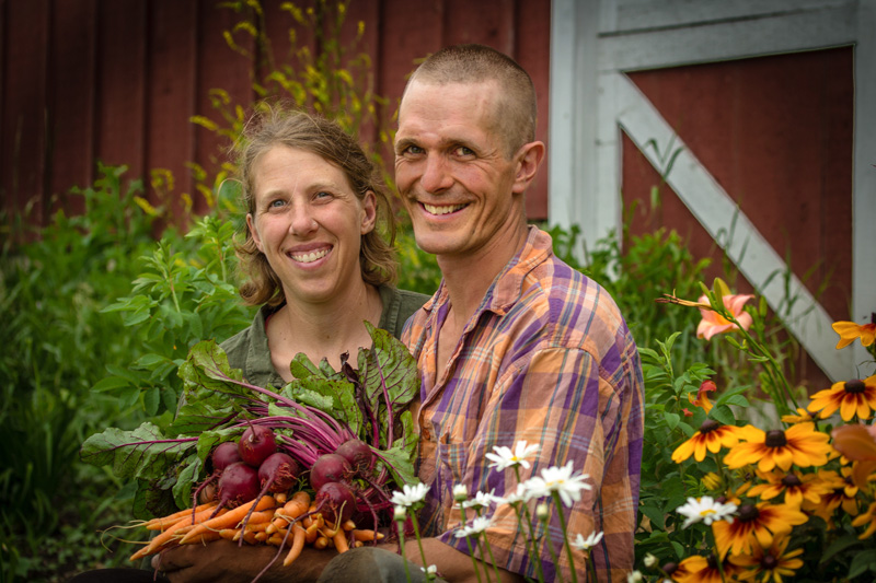 Erin Johnson and Ben Doherty of Open Hands Farm in Northfield, MN, finalists for Bon Appétit Management Company's Fork to Farm grant program