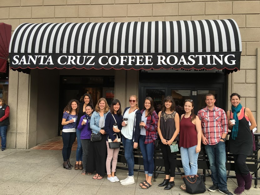 Stacy, Suraya, Sterling, and I pose with the Spoon University students in front of Santa Cruz Coffee Roasting Company. Photo credit: Spoon University at SCU