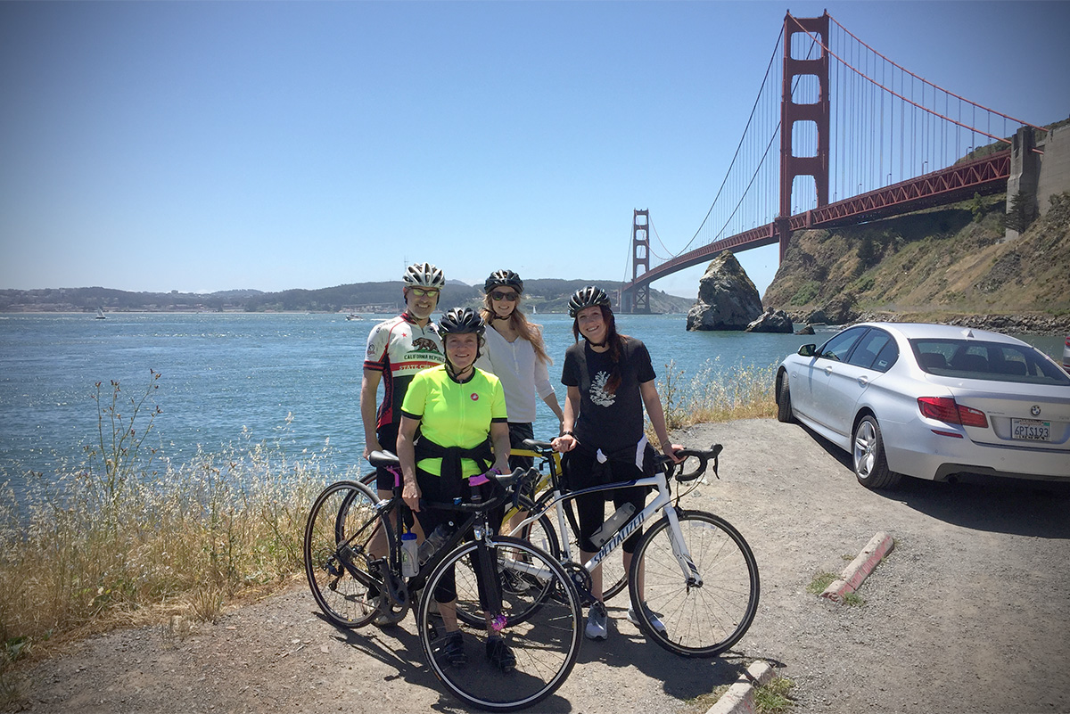 Thom Fox, Kristi Gauslow, and  Tessa Vitale from Bon Appétit with chef Traci Des Jardins on a recent training ride