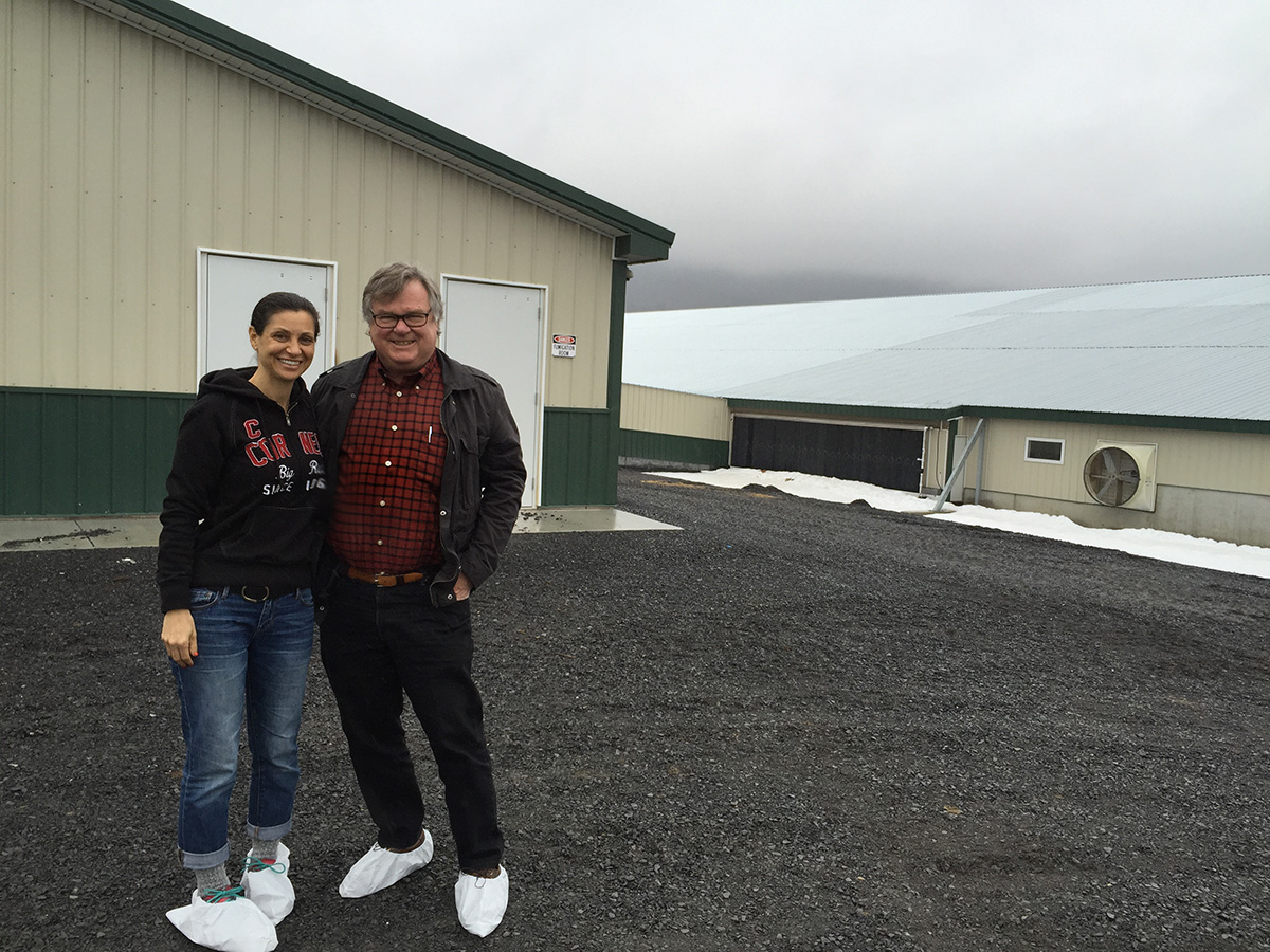 Me and Barry Estabrook, author of Pig Tales, preparing to go inside a Clemens hog barn in Pennsylvania