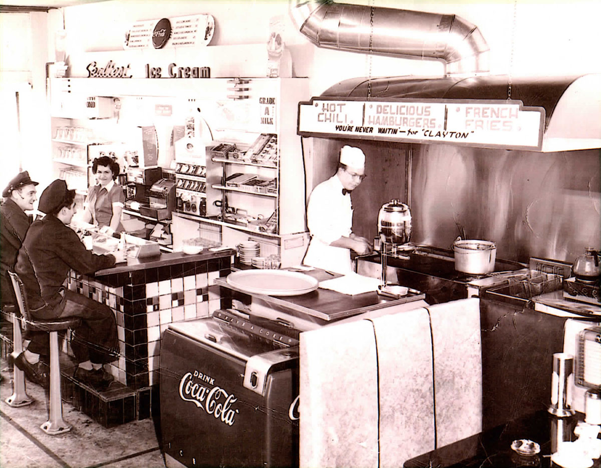 Black and white photo of a diner from 1949