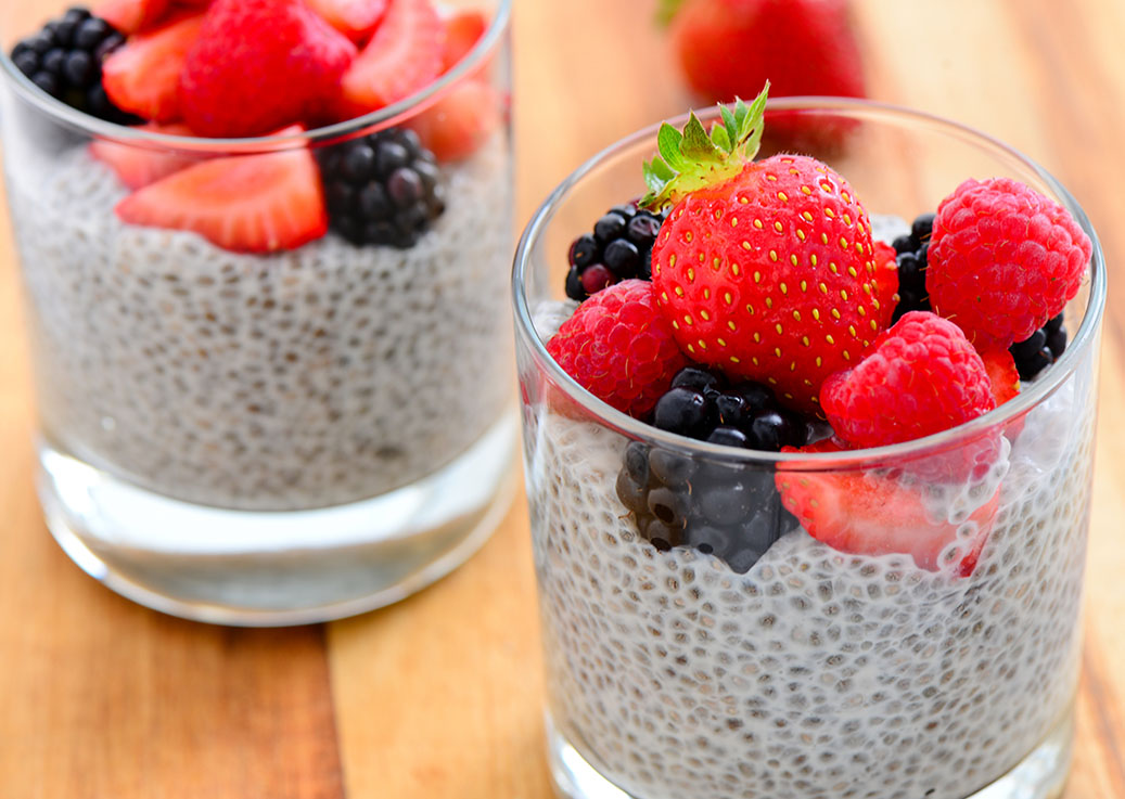 Chia pudding topped with mixed berries