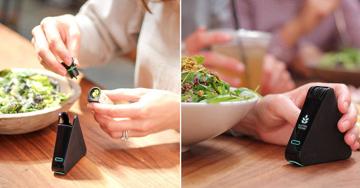 Woman's hands with gluten sensor and food