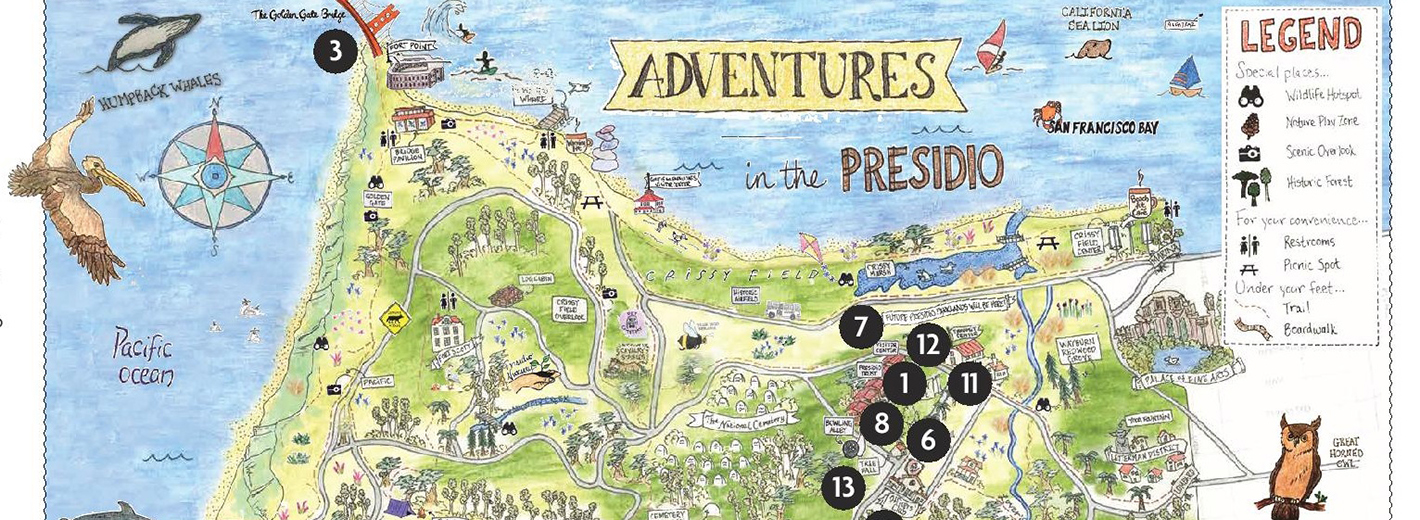 Map of the Presidio detailing key points of interest
