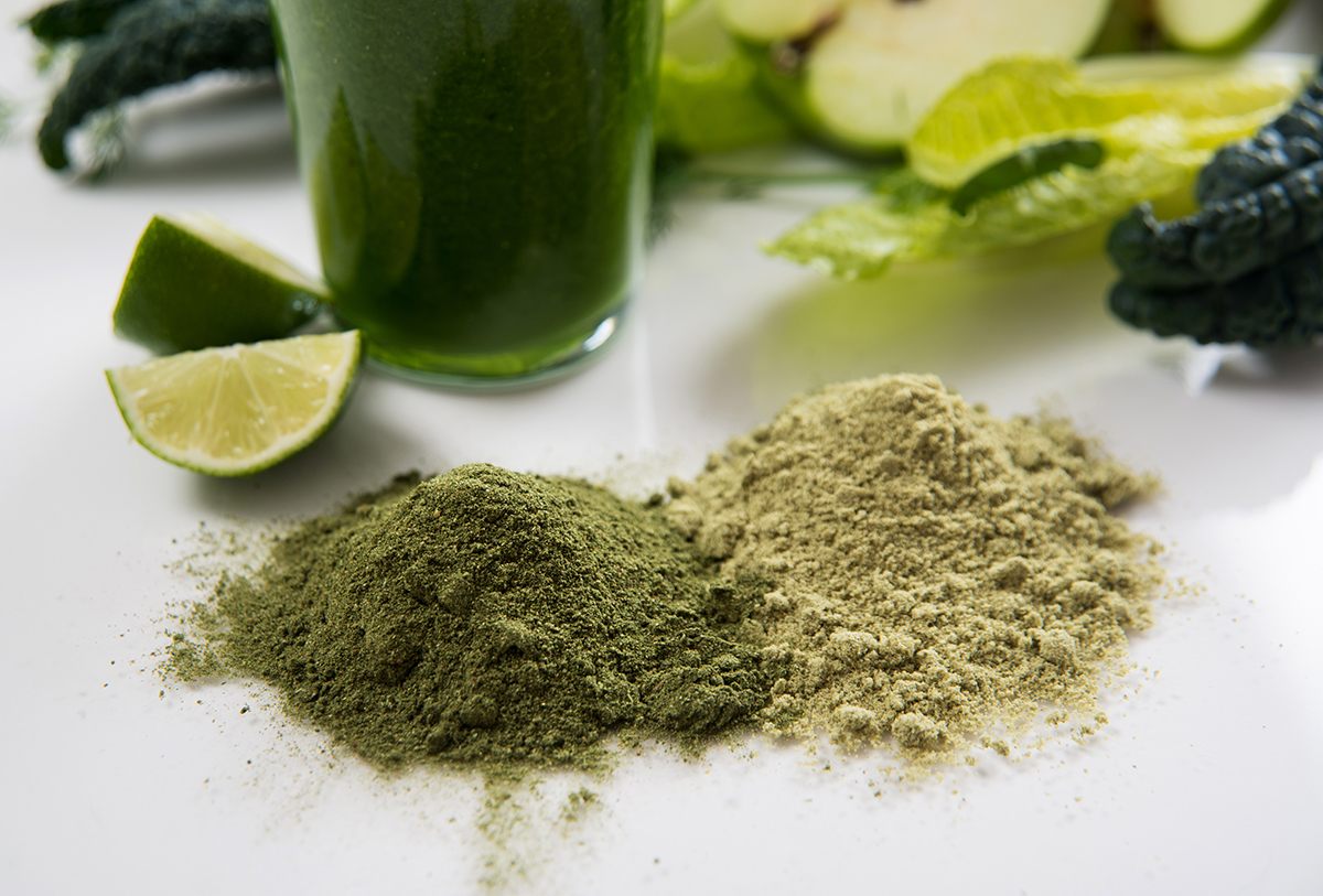 Smoothie made with organic greens, spirulina, protein powders