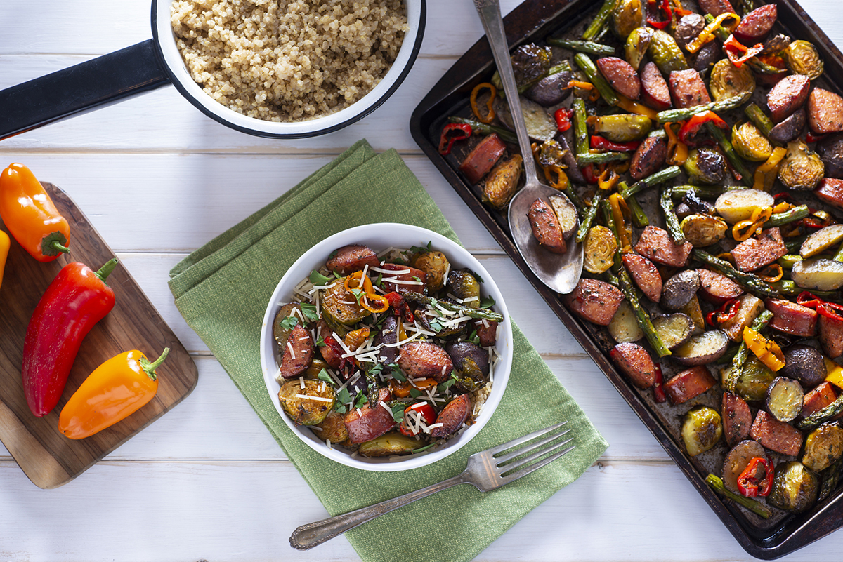 Sheet pan roasted vegetables and sausage
