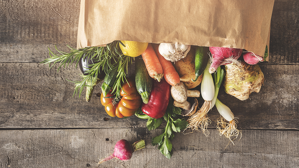 Fresh produce in grocery bag