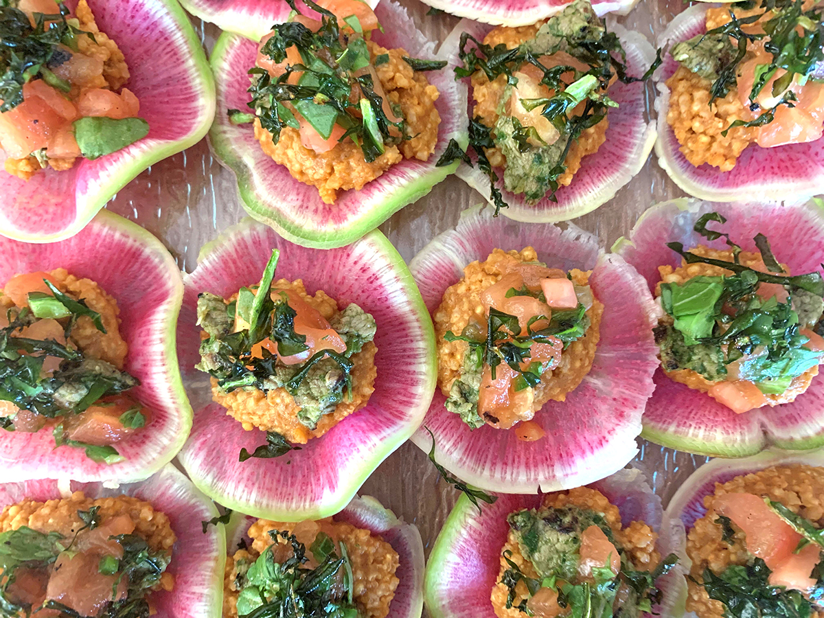 """Watermelon radish taco """"shells"""" with millet and flank steak"""