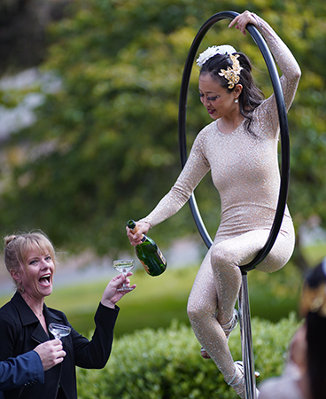Guests were wowed by the aerial Champagne pouring, one of the more creative Champagne toasts the Presidio Foods Catering team has executed