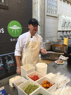 Protective Life Insurance Senior Chef/Manager Robert Lynn made crawfish and blue corn grits