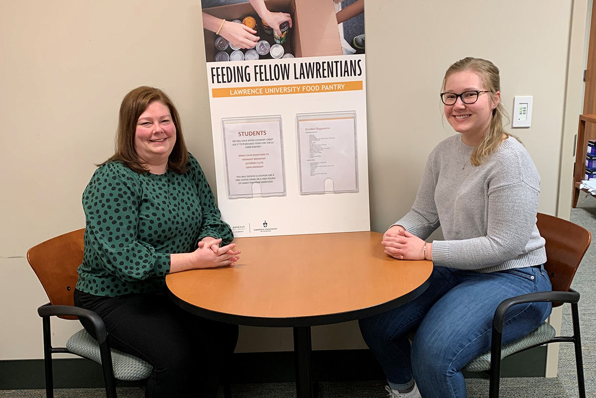 General Manager Julie Severance and Community Advisor and Lawrence student Molly Ruffing, who came up with the idea to increase support of the campus food pantry
