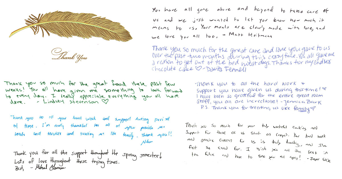 Colage of handwritten thank you messages