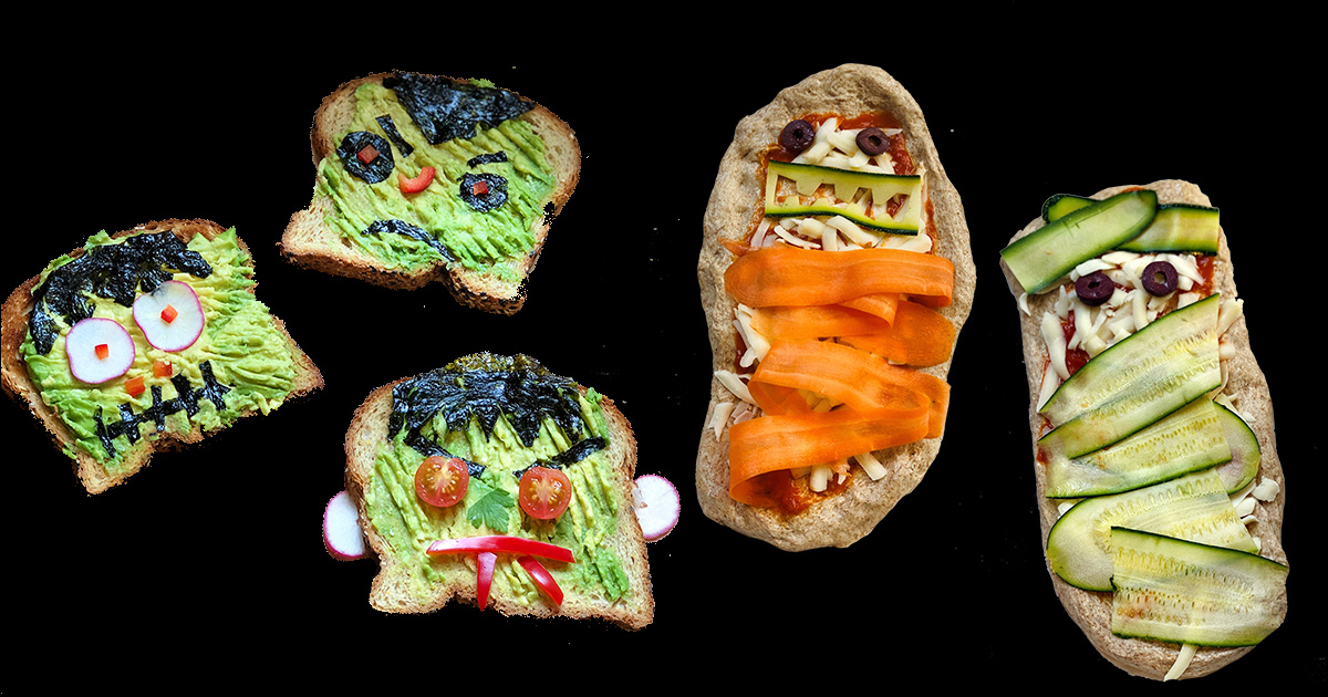 Spooky toast and mummy pizza