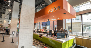 Image of coffee bar at opening of Plum Market at Case Western University.