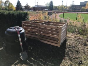 two compost bins at the Wheaton College Garden