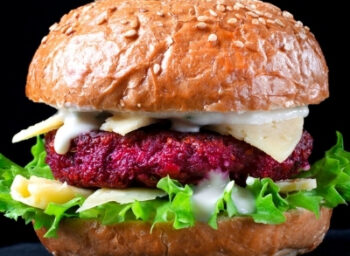 Use Smart Techniques: Quinoa Beet Burger with Herbed Goat Cheese Spread and Quick-pickled Carrots