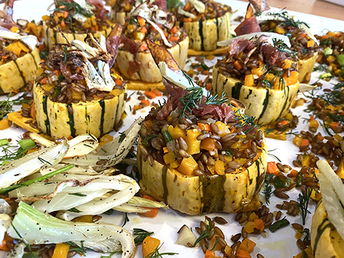 Delicata squash goes hearty with a rye berry stuffing