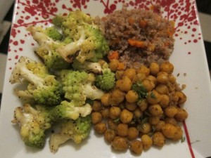 A Balanced Plate: Salt and Pepper Romanesco, Curried Garbanzo Beans, and Bulgur Pilaf