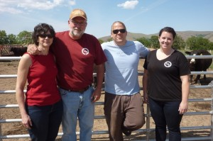 The Laney family gives Lewis & Clark College's Executive Chef Scott Clagget a tour of their cattle ranch. Pictured from left to right: Irene Laney, Scot Laney, Scott Clagget, and Hannah Laney.