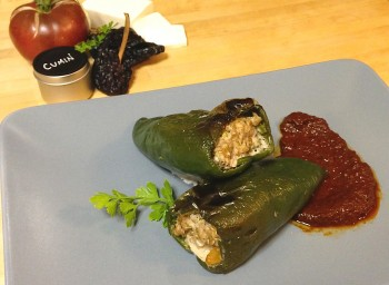 Recipe: Farmers' Market Stuffed Poblano with Ancho Chili Sauce
