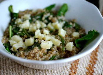 Recipe: Savory Porridge with Cheddar and Dandelion Greens