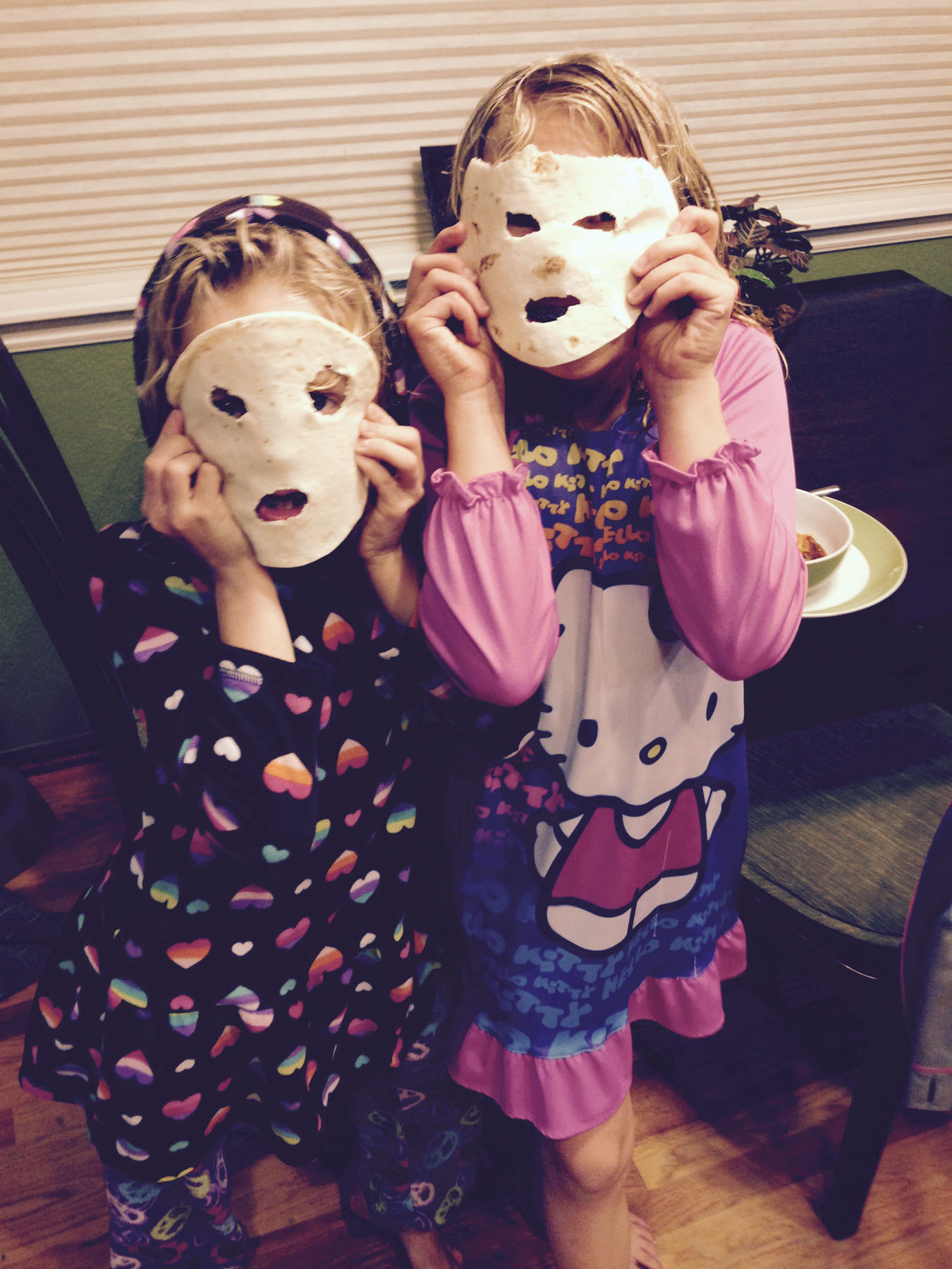 My daughters think tortilla masks go great with Dad's World Famous Chili