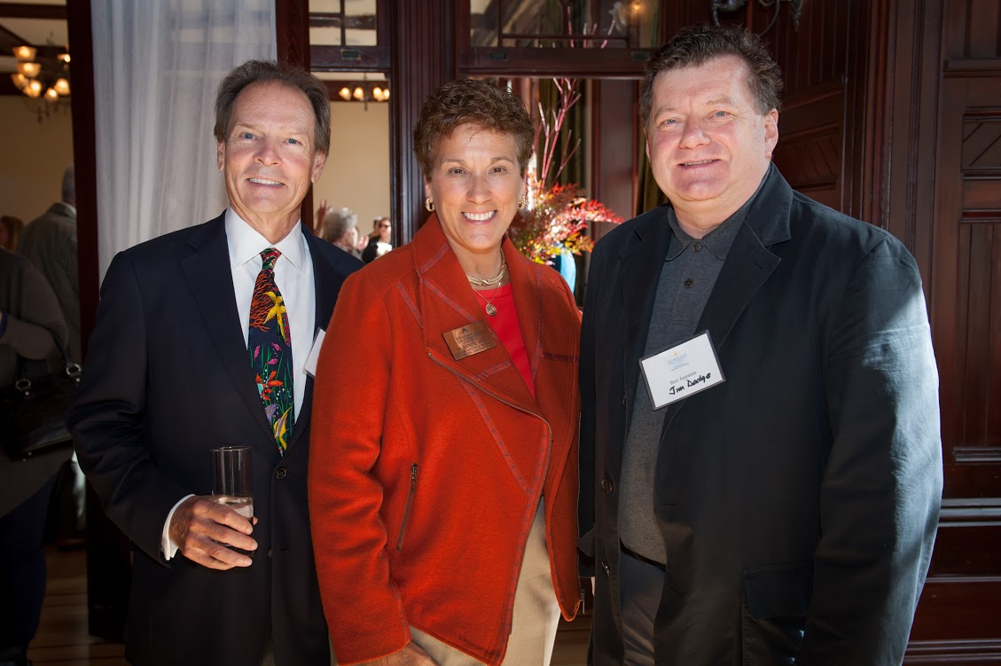 Richard Stone, Dominican trustee; Dr. Denise Lucy, executive director of The Institute for Leadership Studies; and Jim Dodge, Bon Appétit director of specialty culinary programs