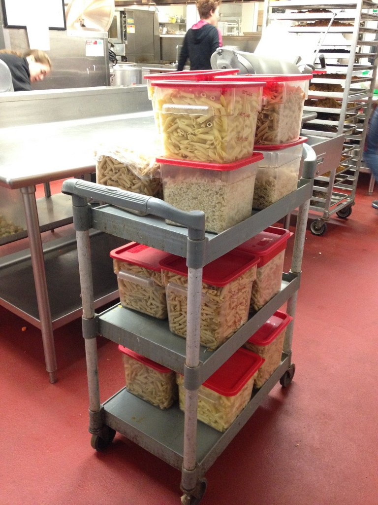 75 pounds of recovered pasta and rice with tempeh!