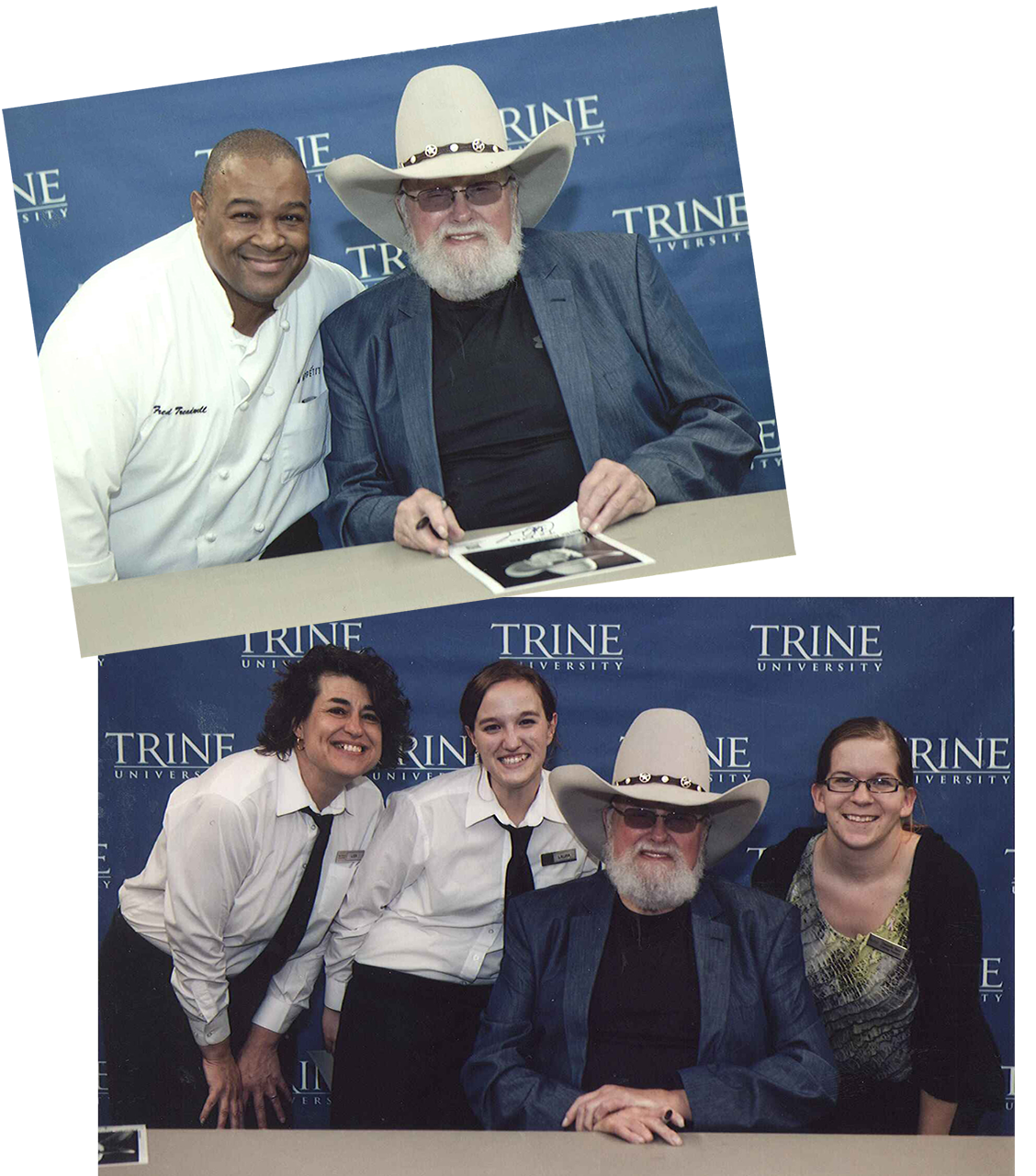 Top: Sous Chef Fred Treadwell with country legend Charlie Daniels Bottom: Catering Attendants Lisa Pardue and Laura Lepley, country legend Charlie Daniels, and Catering Manager Danielle Beer