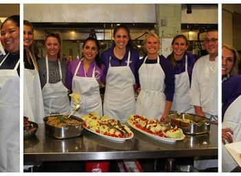 Women's Basketball Teams Up for Home Cooking Class at U of Portland