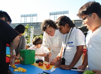 Chef Traci Des Jardins Gets Cooking with Kids in the Garden at AT&T Park