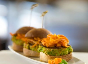 Recipe: Edamame Burgers Topped with Sumac-Spiced Carrot Peels