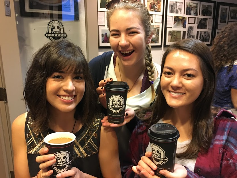 Spoon University student leaders pose with their Santa Cruz Coffee Roasting Company CAN coffee. Photo credit: Spoon University at SCU