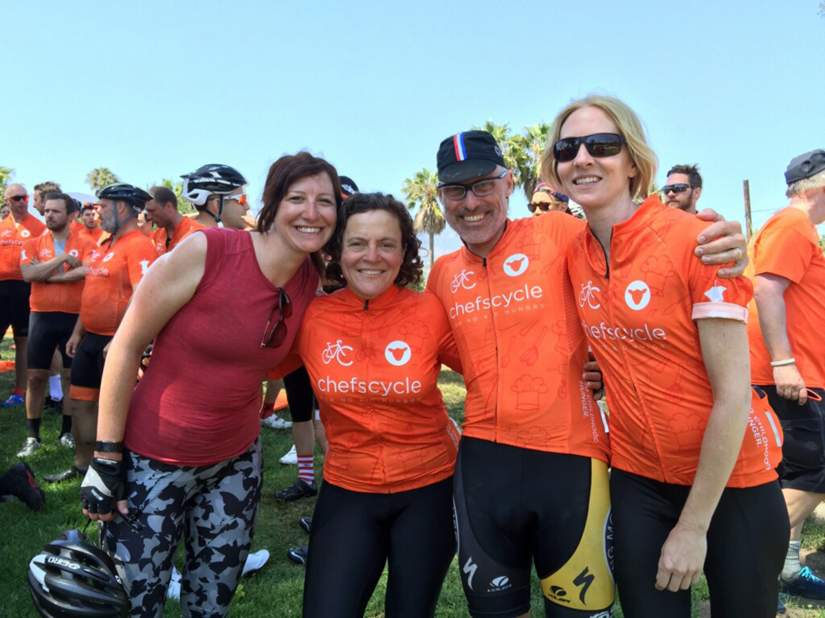 Tessa Vitale, Bon Appétit's general manager at the Commissary; San Francisco chef Traci Des Jardins; Bon Appétit's Thom Fox; and Kristi Gauslow,  Commissary pastry chef at the tired, joyful end of their three-day ride.