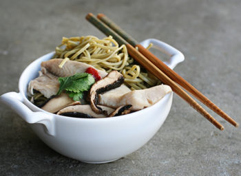 Recipe: Green Tea Soba Noodles with Tilapia, Portabellos, and Sriracha