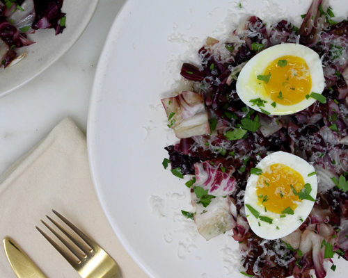 Recipe: Warm Radicchio Breakfast Salad with Soft-Cooked Egg