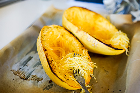 Recipe: Spaghetti Squash with Melted Leeks and Black Peppercorn