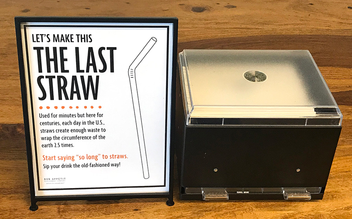 Straw signage and dispenser