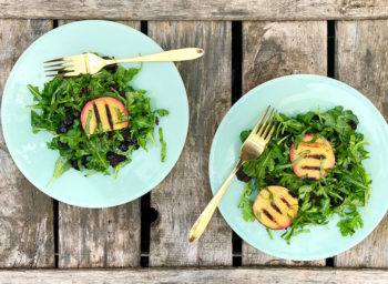 Recipe: Grilled Stone Fruit, Arugula, and Olive Salad
