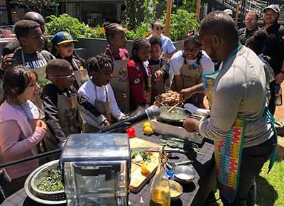 Guest Chef Bryant Terry and students