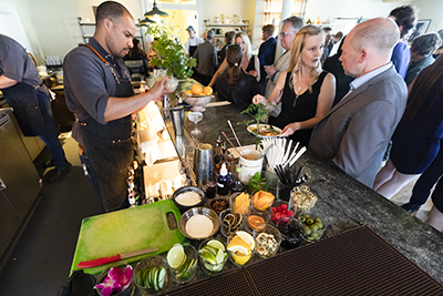 Bar Manager Tony Stewart preps cocktails for the crowd