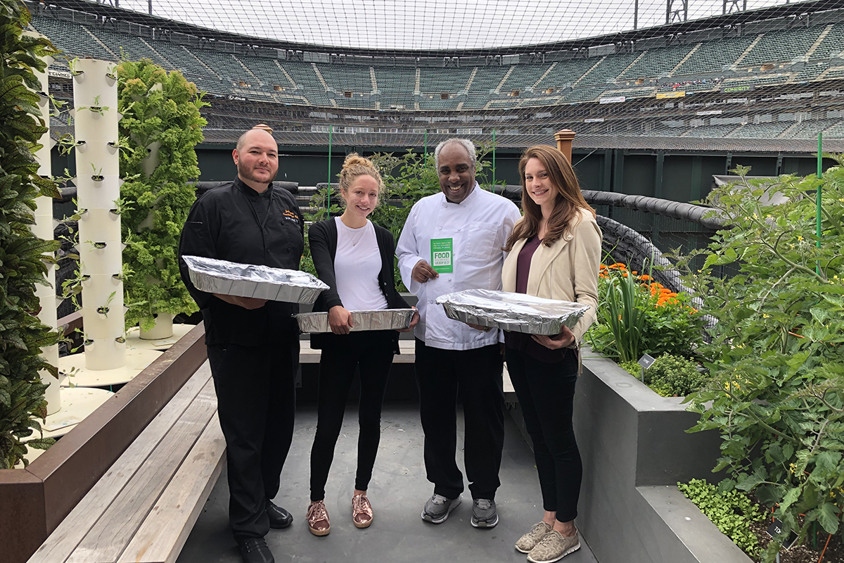 Executive Sous Chef Joshua Saenz, Nonprofit Manager Laurel Caplan, Executive Chef of Concessions Toussaint Potter, and Gotham Club Food and Beverage Director Angela Denman