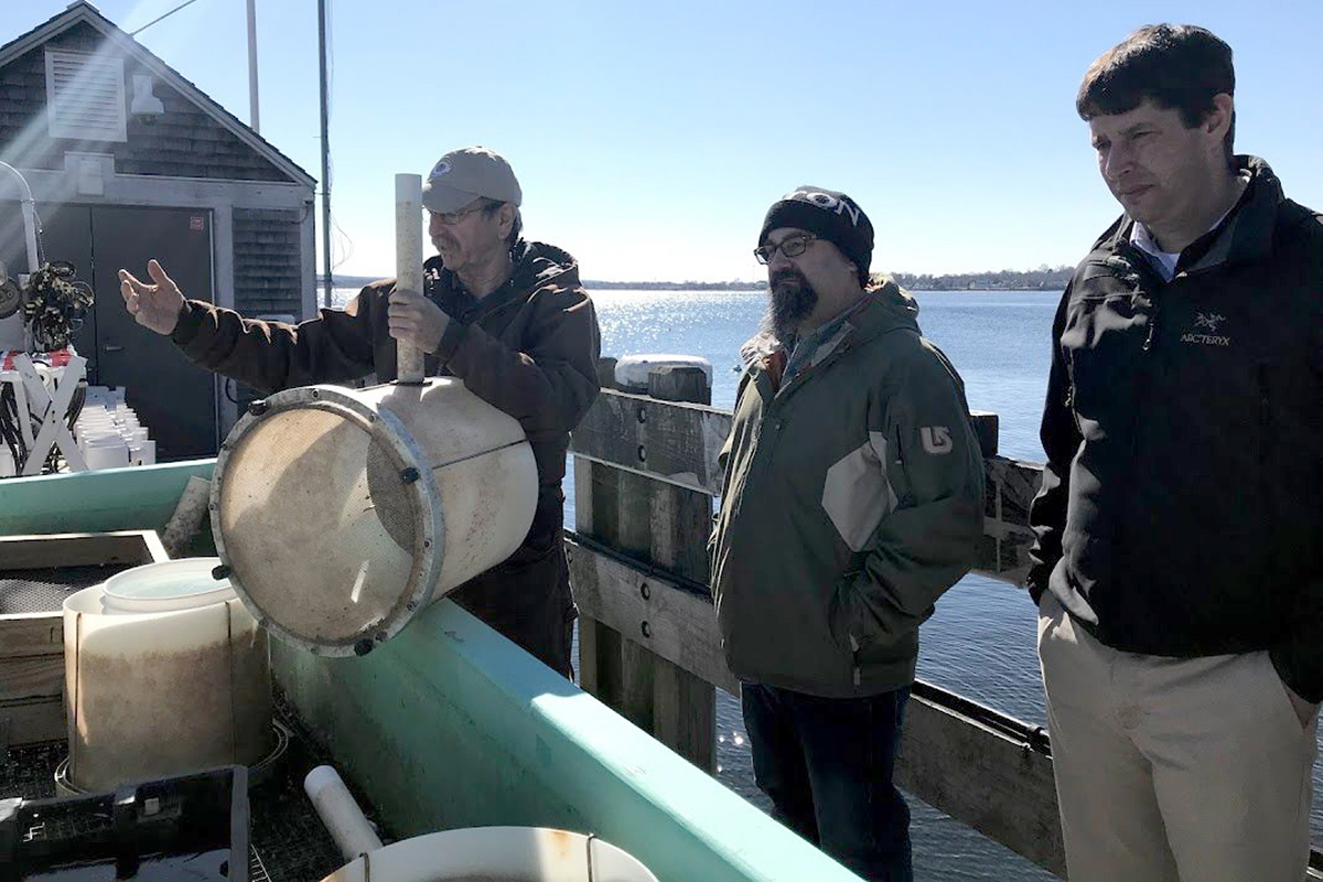 Associate Professor of Biology Dale Leavitt shows Executive Chef Jon Cambra and Café Manager Josh Hennessy the submerged tanks