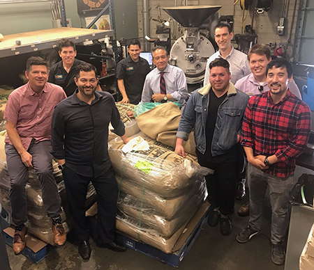 Assistant Director of Operations Collin Rand (black shirt), Jones Coffee co-owners Larry and Chuck Jones, Jones Coffee Roaster Rafael Batiz, Jones Coffee Sales Manager Maurice Saldebar, Resident District Manager Jon Webster, Catering Director Leon Darley (Biola University), Assistant Catering Director Isaiah Kerkhoff (Biola University), and Fellow Taiyo Scanlon-Kimura