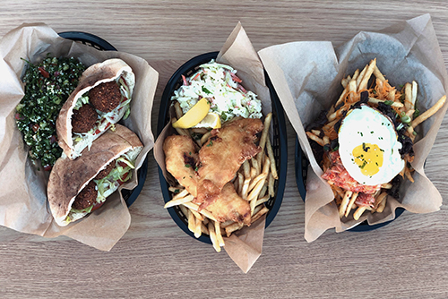 Lunch options from the Vegging Out, Bay Shack, and Korean Barbecue stations